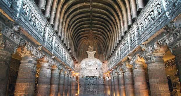 Ajanta and ELlora caves are named together, but they are different entities and are located in different locations http://goo.gl/cNfETo