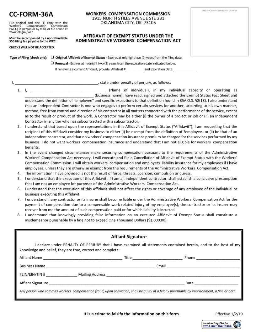This Is A Oklahoma Form That Can Be Used For Workers Comp With