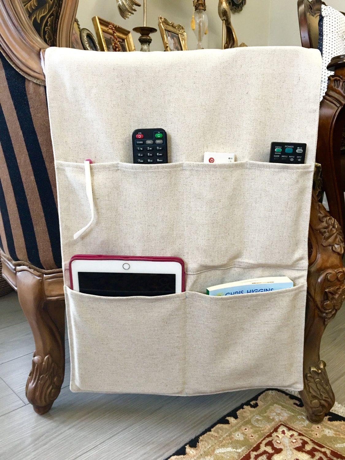 Linen Remote Control Holder Upholstery Linen Fabric Remote Control