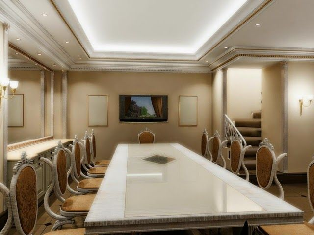 Gypsum false ceiling design for dining room with led for Latest dining room designs