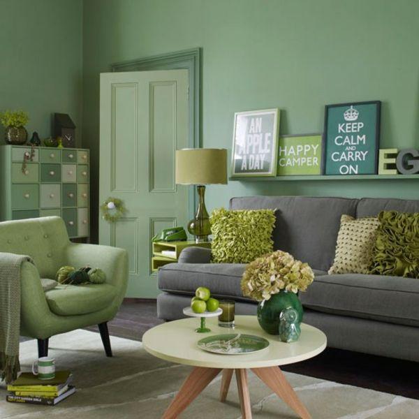 wohnideen wohnzimmer grun, wohnideen wohnzimmer-ein ruhiges gefühl durch die farbe grün, Design ideen