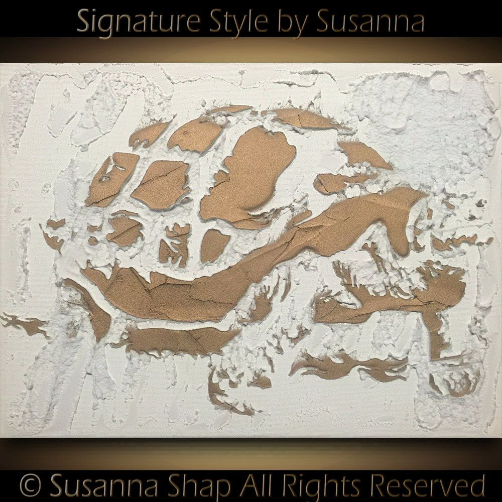 """ORIGINAL Small Abstract White & Gold Turtle Painting Texture Home Decor Mixed Media Wall Art Modern Art 12""""x16"""" Canvas Painting by Susanna"""