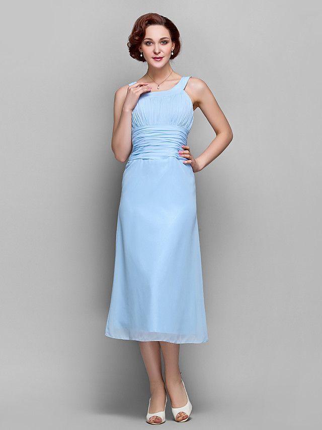 Sheath/Column Scoop Tea-length Chiffon Mother of Bride Dress (699347) | LightInTheBox