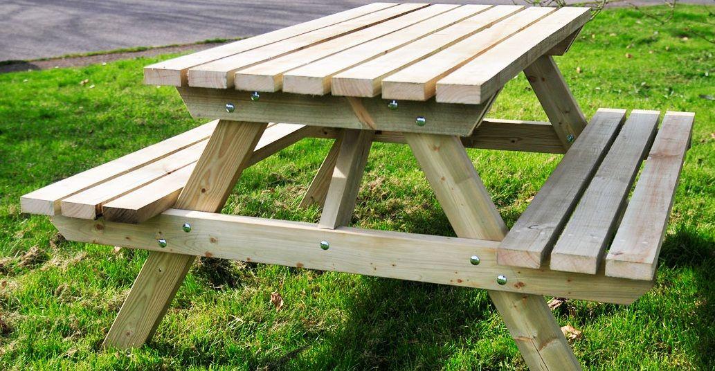 wooden picnic table picnic bench handmade wooden workshop bampton devon