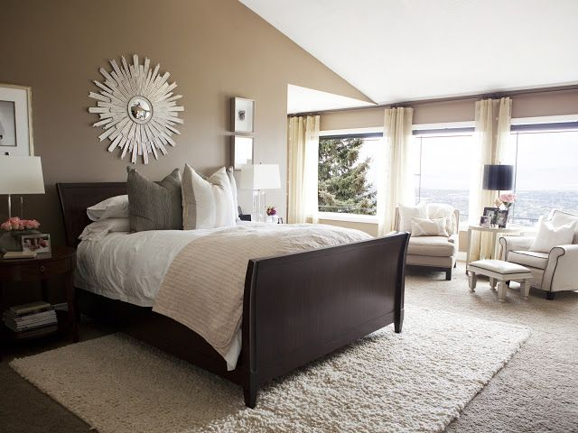 simple and serene master bedroom dark furniture
