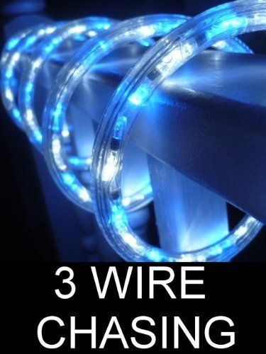 18FT OCEAN BLUE AND PURE WHITE 3 WIRE CHASING LED ROPE LIGHT KIT