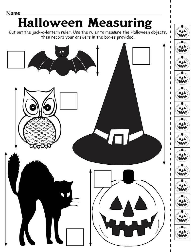 free printable halloween measuring worksheet activity october halloween activite enfant enfant. Black Bedroom Furniture Sets. Home Design Ideas