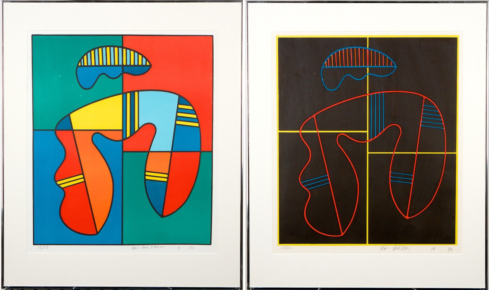 Kari Huhtamo:litografia, 2 kpl, 1984, 13/29 ja 13/30 - Hagelstam