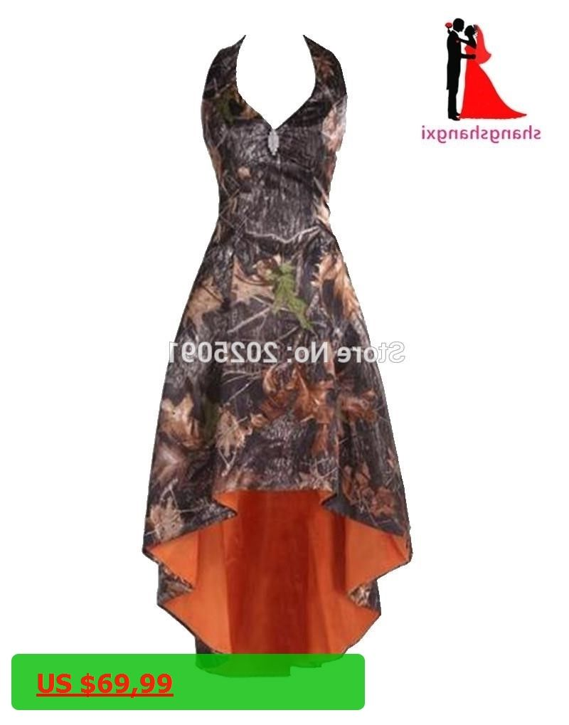 Real picture fashion camouflage bridesmaid dresses plus size halter