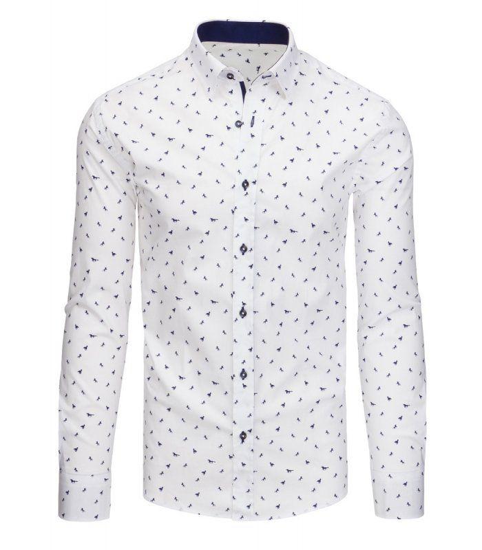 31369b45db47 Společenské pánské košile v bílé barvě se vzorem a dlouhým rukávem -  manozo.cz