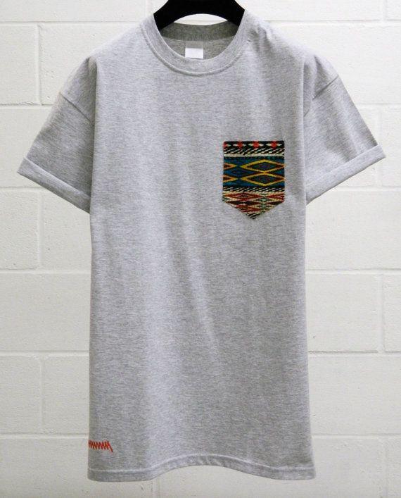 Mens Aztec Pattern Grey Pocket T Shirt Mens T Shirt Pocket Tee