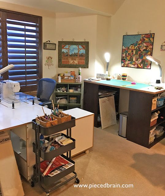 Small quilting studio organized with @Ikea bookshelves and counter ...