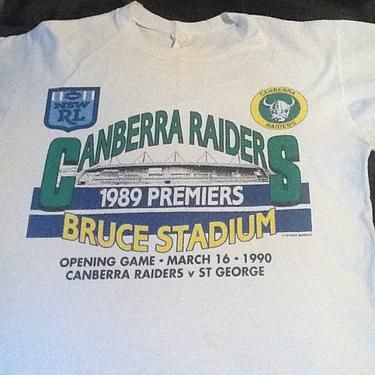 1990 Canberra Raiders T Shirt Commemorates The Opening Match At Bruce Stadium Between The Canberra Raiders And S Raiders T Shirt National Rugby League Raiders