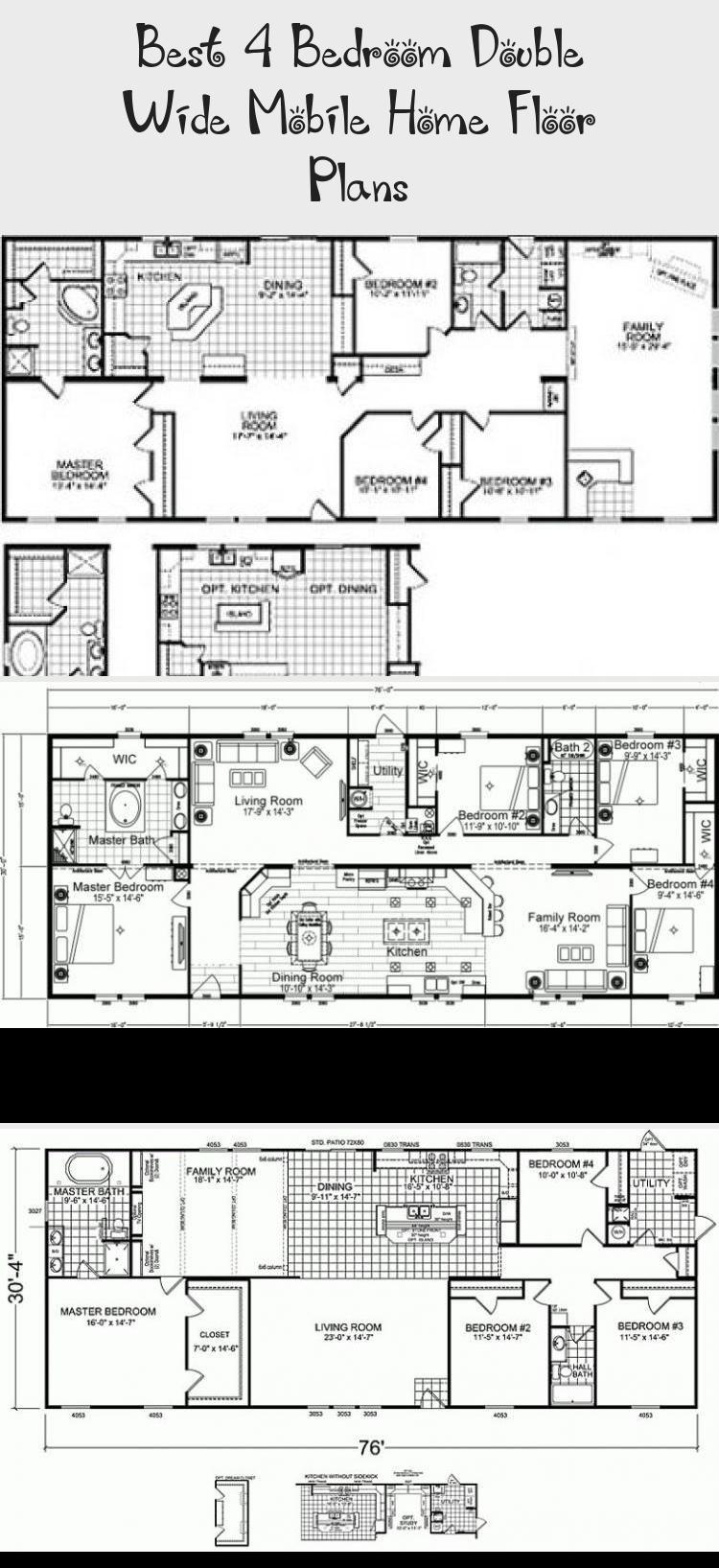 Best 4 Bedroom Double Wide Mobile Home Floor Plans in 2020 ...