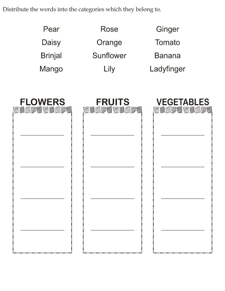 Download english activity worksheet Distribute the words into the ...