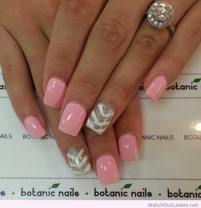 botanic nails light pink white silver glitter nails