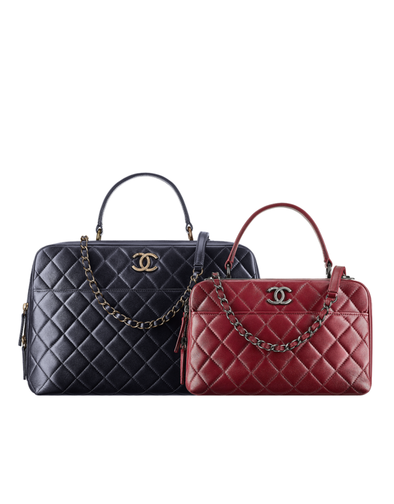 Lambskin bowling bag embellished with Chanel metallic plates - CHANEL ( ) d5872f1c1a48a