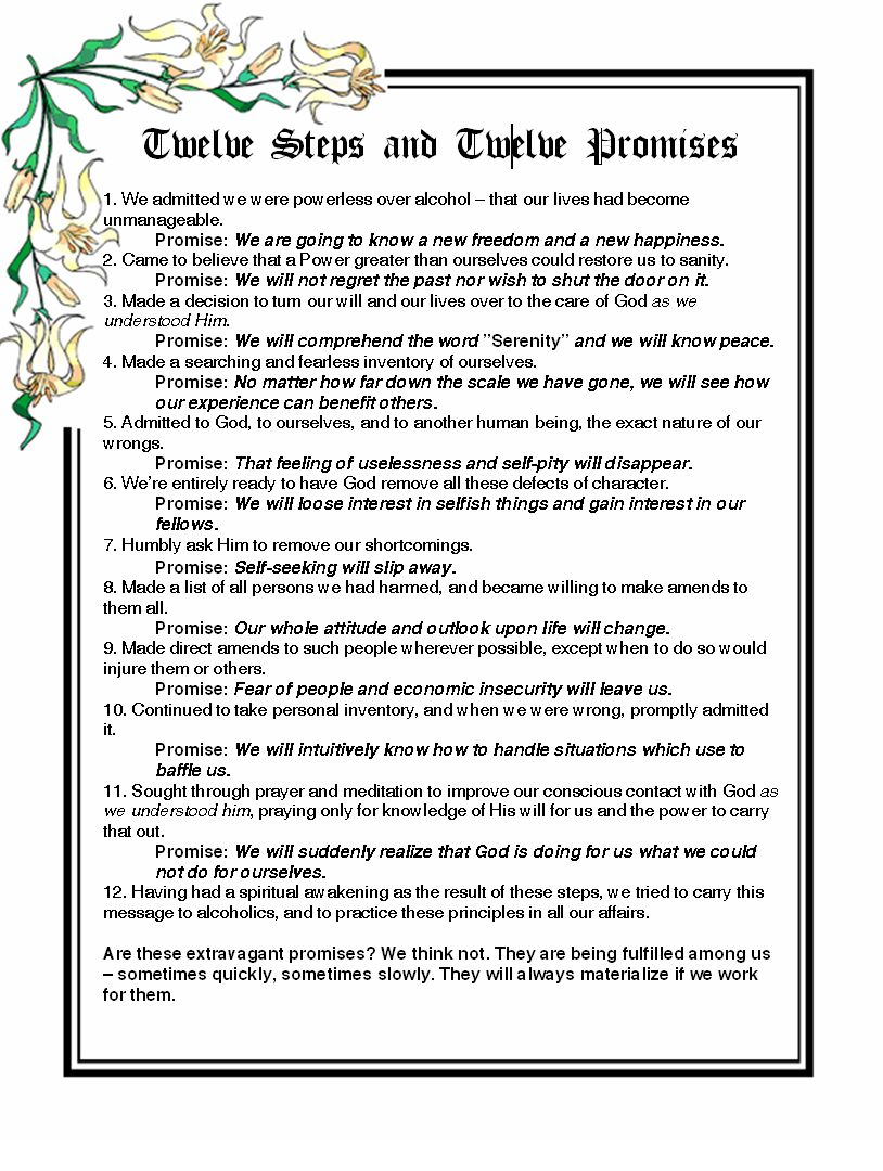 This is a photo of Invaluable Aa Promises Printable