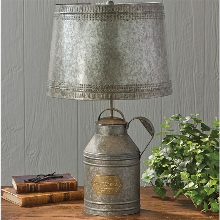 Country Village Shoppe Milk Can Lamp With Tin Shade 158 95 Http Www Countryvillageshoppe Com Candeeiros Rusticos Lampadas Industriais Abajur De Madeira