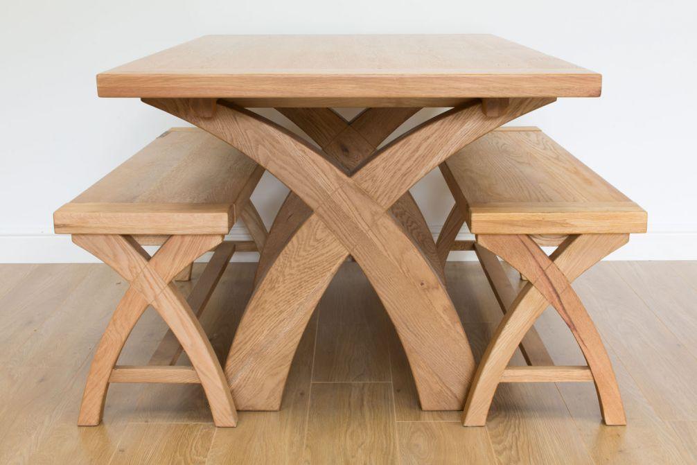 Country Oak 140cm X Leg Table And 2 120cm X Leg Country Oak