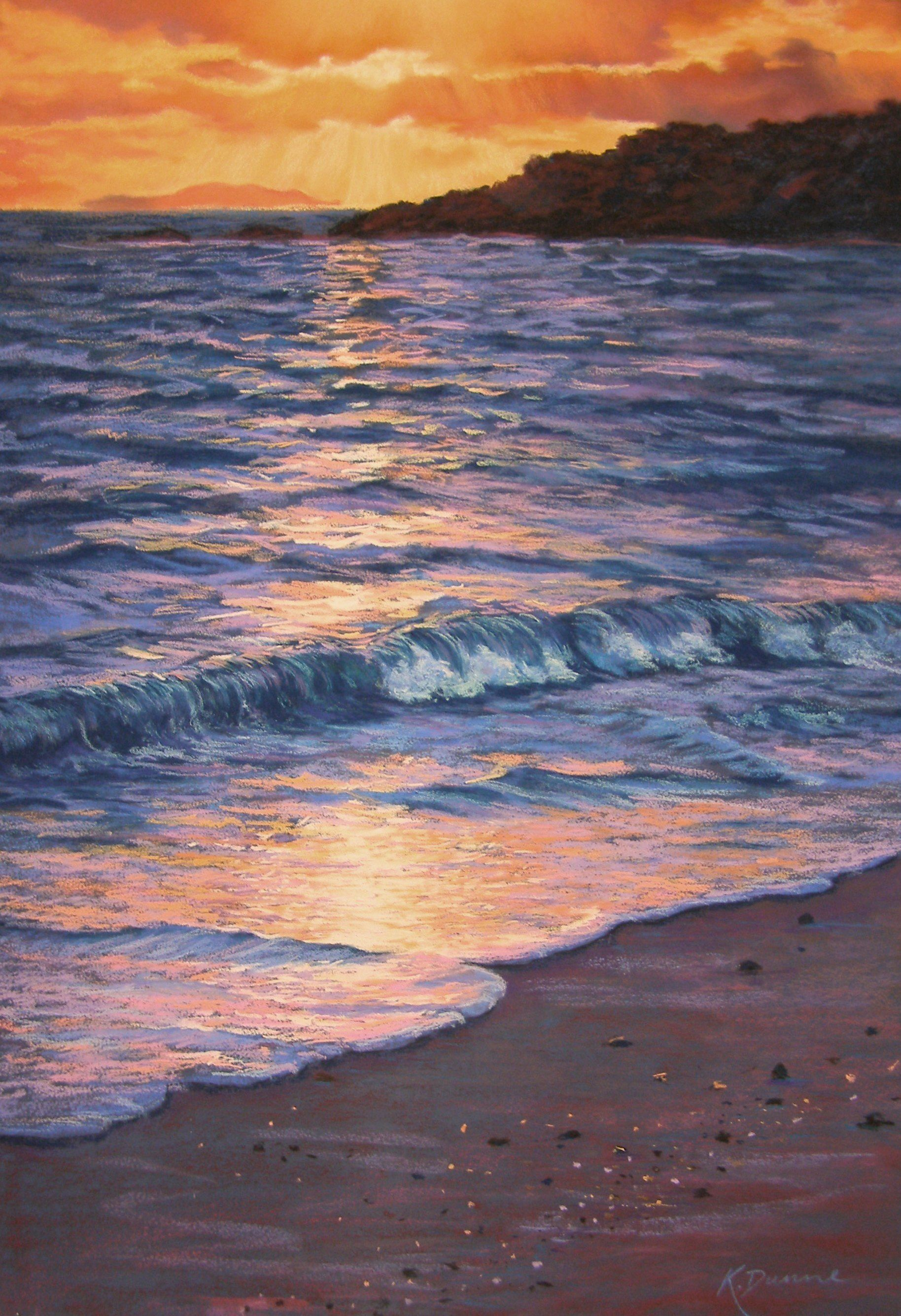 The Ocean At Sunrise Pastel By Www Kathdunneartworks Com Ocean Painting Sunset Painting Water Painting