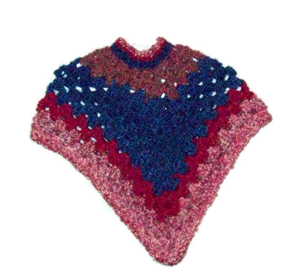 and color of choice size handmade crochet Star dot poncho 15 years