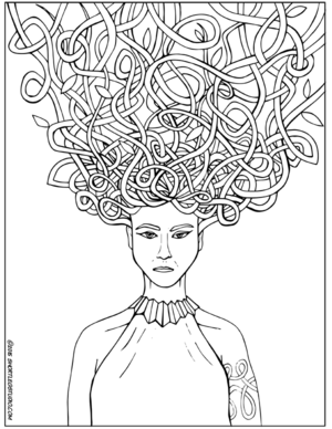 green medusa coloring sheet