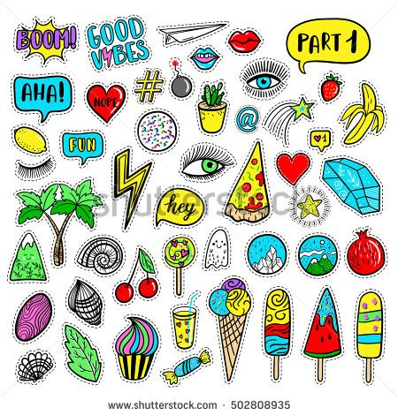 Vector hand drawn fashion patches: eyes, ice cream, crystal, palm, pizza, banana, ghost, lip, heart, star, speech bubble. Modern set of pop art stickers, patches, pins, badges in 80s-90s cartoon style #design #summer #shop #print #fabric #colorful #bright #handmade #paint #designwork #cardcreator #illustration #designinspiration #cards #pattern #patterndesign #graphicdesign #embroidered #patches #diy #funny #cute #cartoon #pingame #jacket #punk
