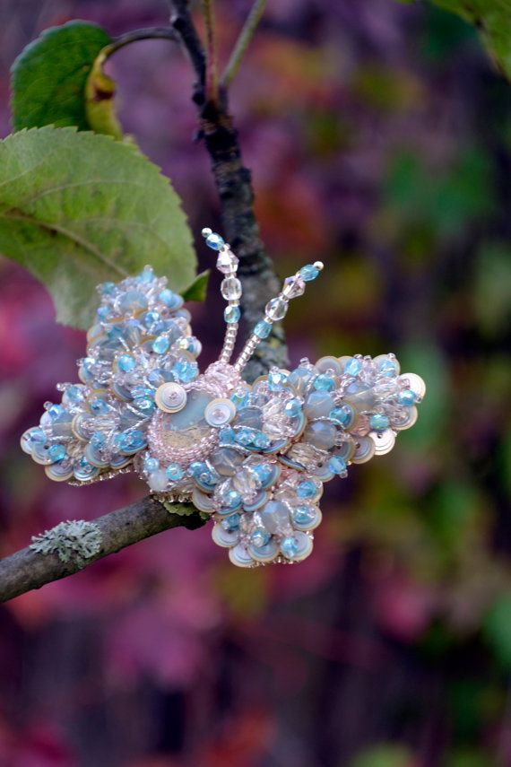 Butterfly brooch READY to ship Nature by BeadedNatureJewelry