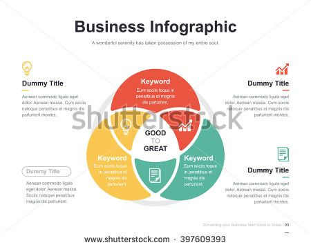 Flat business presentation vector slide template with circle venn - business presentation template