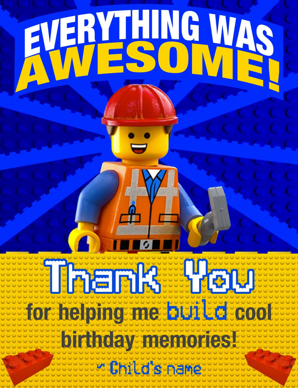 Lego Thank You Cards Like This Item Lego Thank You