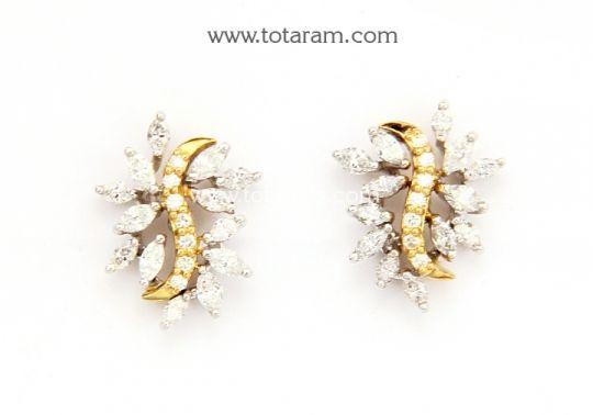 Diamond Earrings for Women in 18K Gold with White Rose Gold Polish