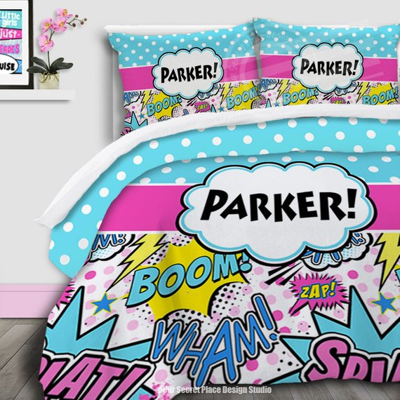 Personalized Bedding For Girls Comforter Set Comic Book Bedding