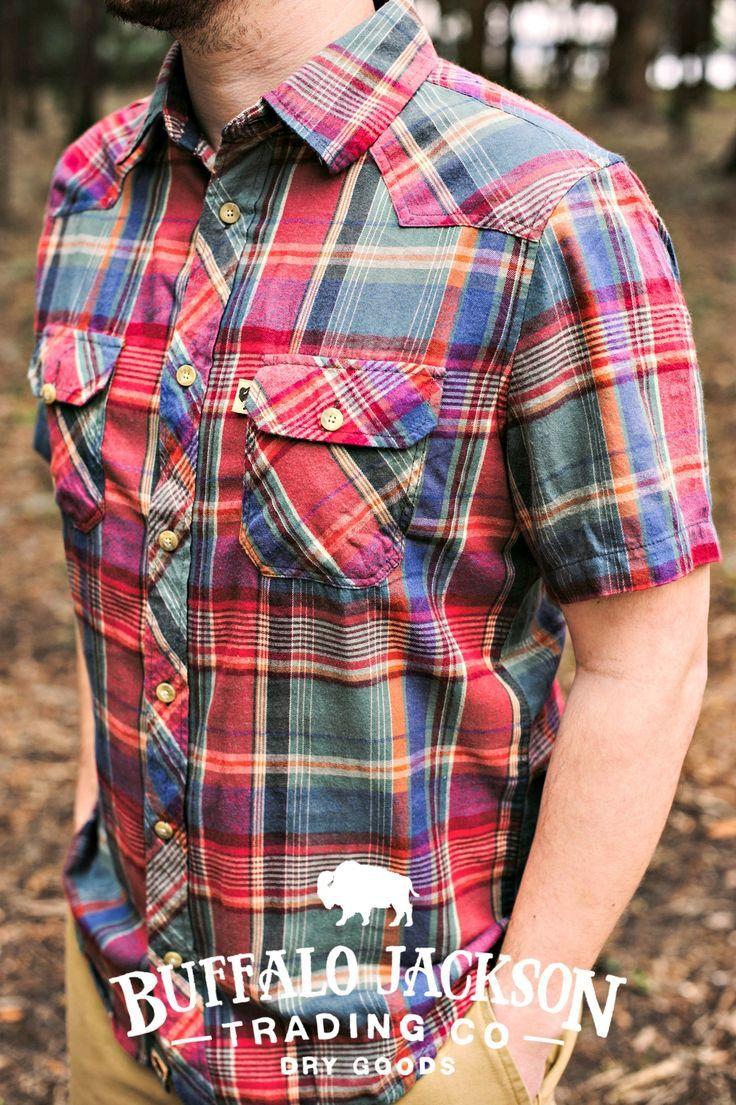 The Durango men's shirt by Buffalo Jackson Trading Co. A short-sleeved, western yoked, 100% cotton, two-pocket perfect summer shirt.