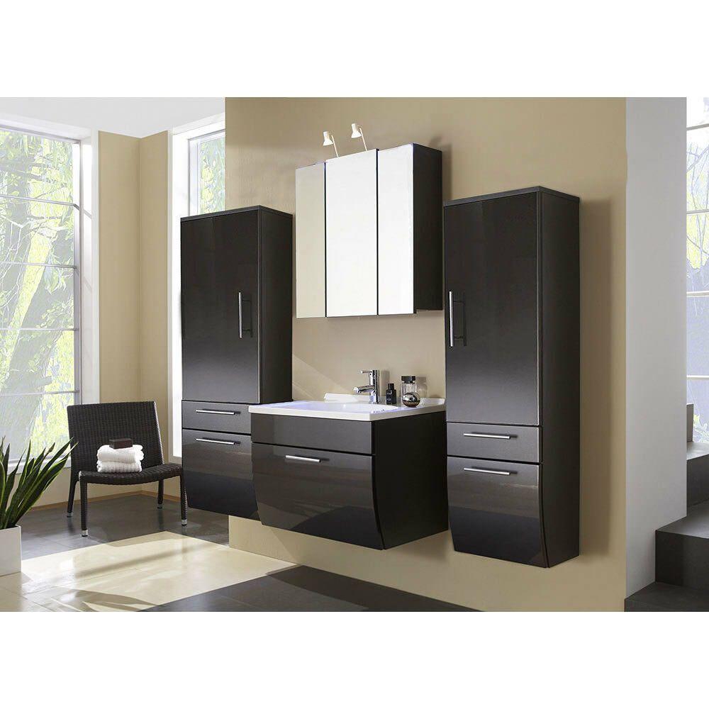 Badezimmer Set Waschplatz Spiegelschrank Hochschrank Hochglanz Anthrazit Badezimmermobel Ideen Von Badezimmermob In 2020 Badezimmer Set Hochschrank Spiegelschrank
