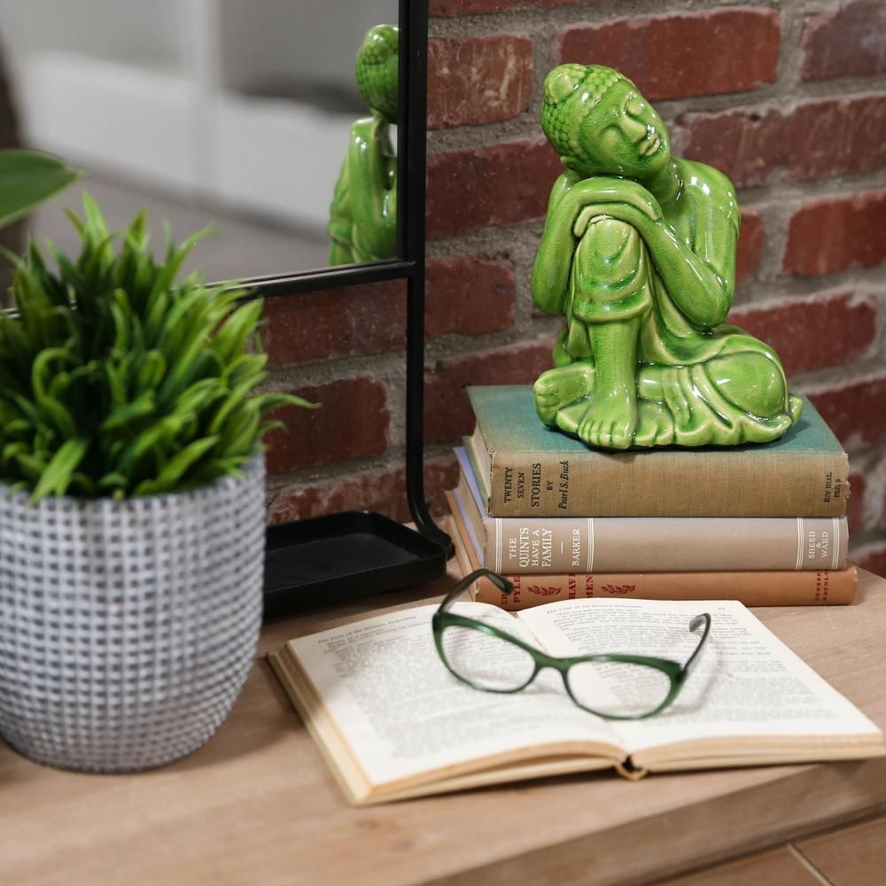 Urban Trends Collection 7.5 in. H Buddha Decorative Figurine in Green Gloss Finish 22149 - The Home Depot #buddhadecor