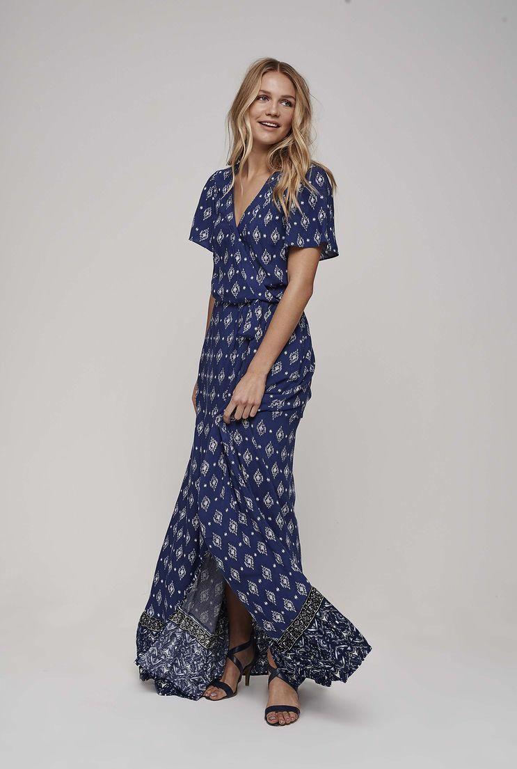 Tall womenus frill sleeve print maxi dress in baja blue size at