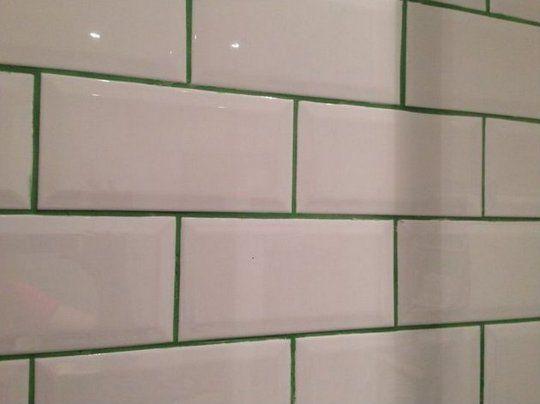 white tile coloured grout - Google Search Lavabo Pinterest Baños
