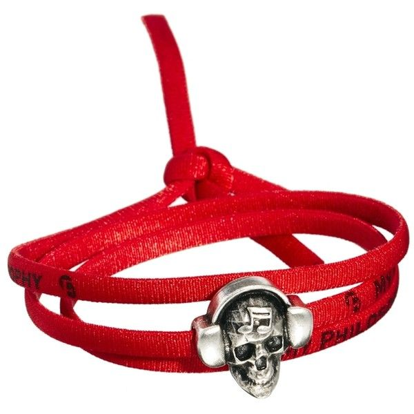 Boom Bap Skull Red Wrap Bracelet (20 CAD) ❤ liked on Polyvore featuring men's fashion, men's jewelry, men's bracelets, red, mens metal bracelets and mens skull bracelets