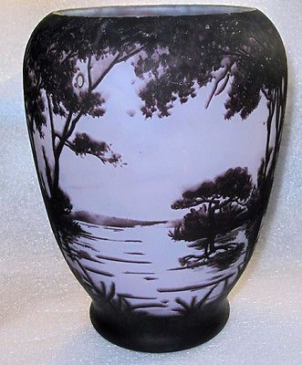 "DAUM, NANCY SIGNED ACID ETCHED CAMEO GLASS VASE LANDSCAPE,  8 3/4"" H"