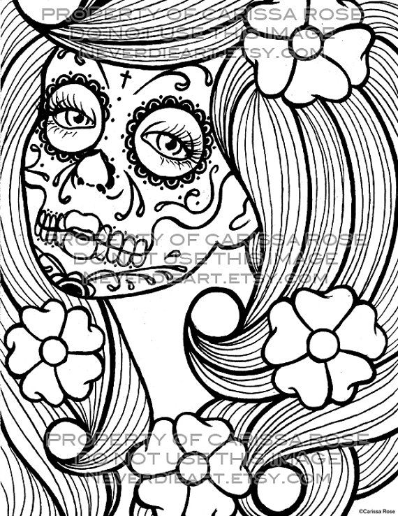 day of the dead tattoo flash digital download print your own coloring book outline page - Day Of The Dead Coloring Book