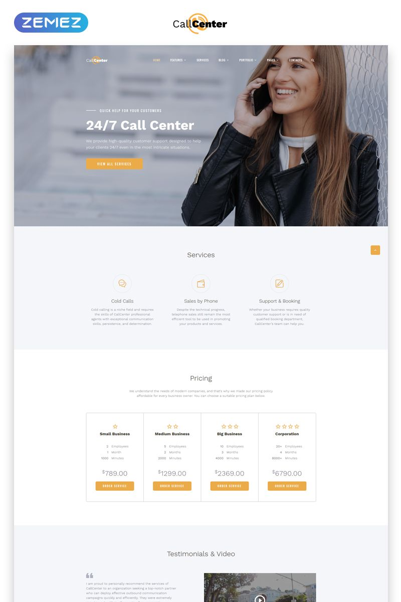 Call Center Multipage Html5 Template Fashion Web Design Website Template Business Website Templates
