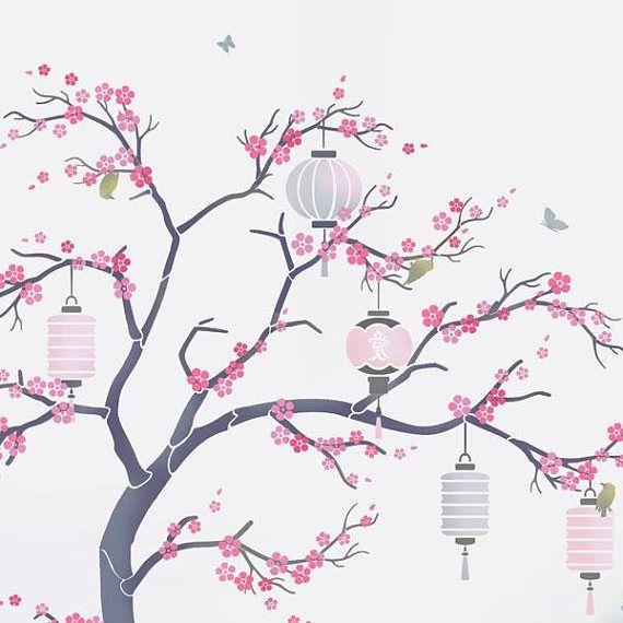 Japanese Cherry Blossom Sakura And Lanterns Nursery Tree Cherry Blossom Painting Japanese Cherry Tree Tree Drawing Wallpaper
