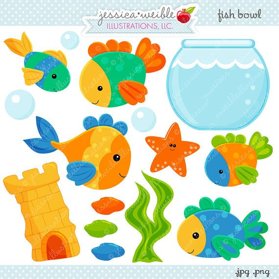 Fish Bowl Cute Digital Clipart Commercial Use Ok Fish Etsy Fish Clipart Fish Bowl Digital Clip Art