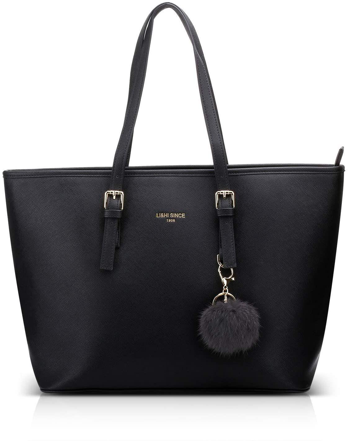 Li Hi Damen Handtasche Shopper Handtasche Schwarz Elegant Schwarze Groß Damen Tasche Für Büro Schule Einkau Handtasche Schwarz Taschen Damen Handtasche Shopper