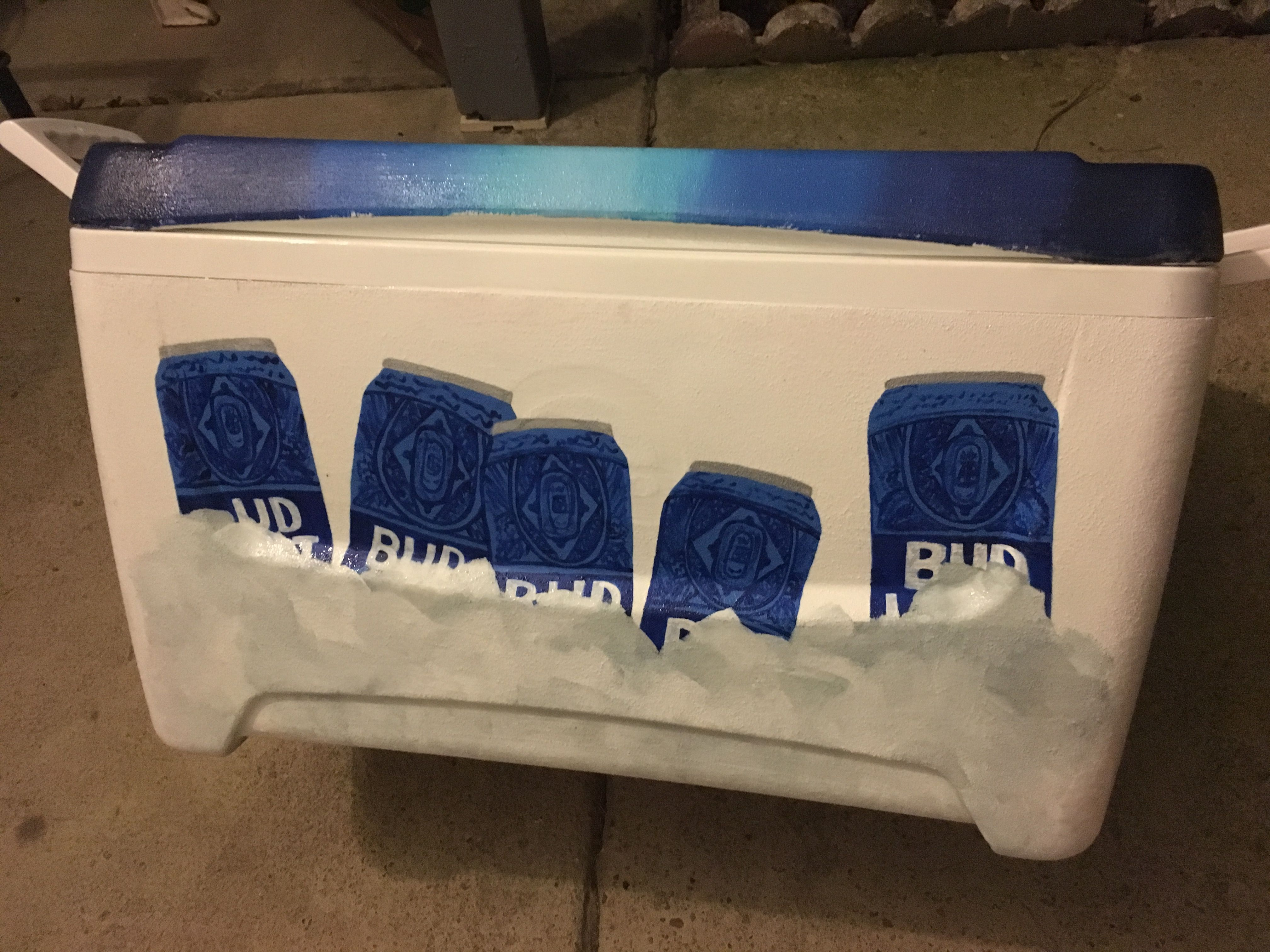 Bud light beer cans on ice painted cooler | Kalida Designs