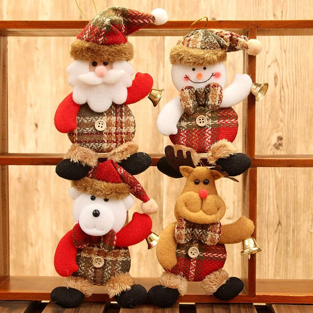 Christmas Ornaments Gift Wooden Deer Snowman Tree Toys Doll Hang Decorations
