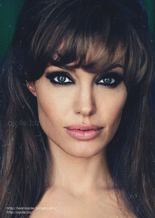 As Soon Start Growing My Bangs Out I See Some Cute Ones Angelina Jolie Makeup Angelina Jolie Beauty