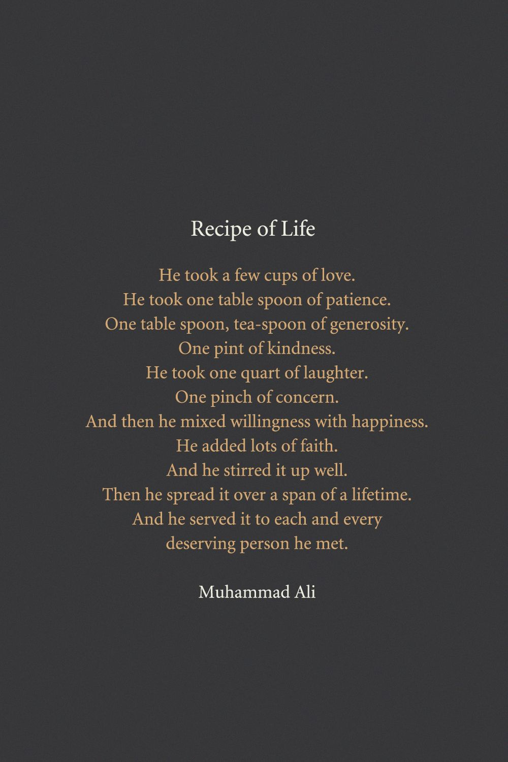 recipe for life muhammad ali food for thought pinterest