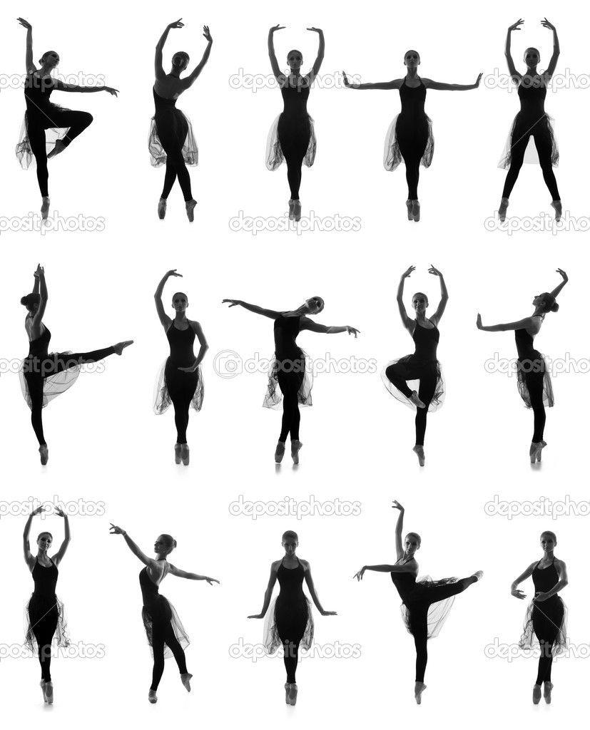 ensemble de ballet diff rentes poses traces noires et blanches isol s sur blanc pour mathilde. Black Bedroom Furniture Sets. Home Design Ideas